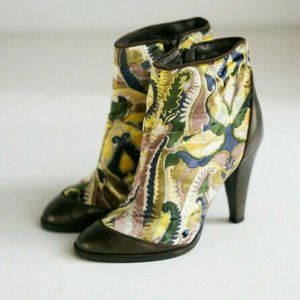 Missoni Velvet Leather Colourful Floral Booties